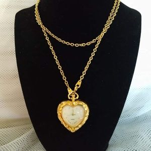 Avon heart clock pendant necklace